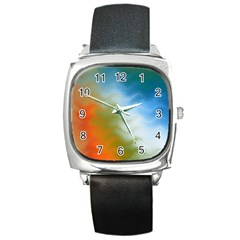 Texture Glass Colors Rainbow Square Metal Watch