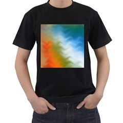 Texture Glass Colors Rainbow Men s T-Shirt (Black) (Two Sided)
