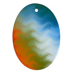 Texture Glass Colors Rainbow Oval Ornament (Two Sides)