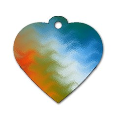 Texture Glass Colors Rainbow Dog Tag Heart (One Side)