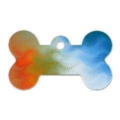 Texture Glass Colors Rainbow Dog Tag Bone (one Side)