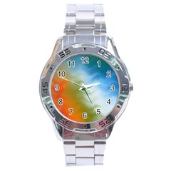 Texture Glass Colors Rainbow Stainless Steel Analogue Watch
