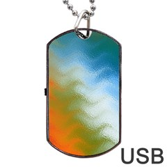 Texture Glass Colors Rainbow Dog Tag USB Flash (Two Sides)