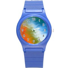Texture Glass Colors Rainbow Round Plastic Sport Watch (S)