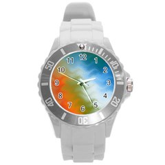Texture Glass Colors Rainbow Round Plastic Sport Watch (L)