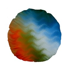 Texture Glass Colors Rainbow Standard 15  Premium Flano Round Cushions