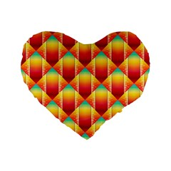 The Colors Of Summer Standard 16  Premium Flano Heart Shape Cushions