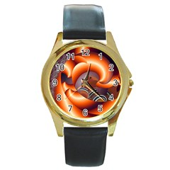 The Touch Digital Art Round Gold Metal Watch