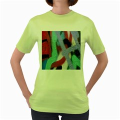 Texture Pattern Abstract Background Women s Green T-Shirt