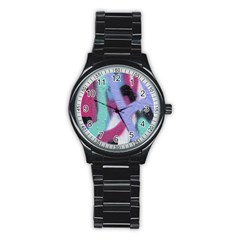 Texture Pattern Abstract Background Stainless Steel Round Watch