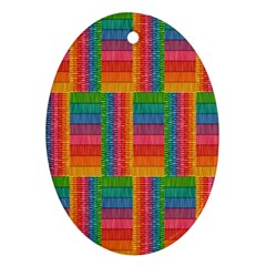 Texture Surface Rainbow Festive Ornament (Oval)