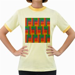 Texture Surface Rainbow Festive Women s Fitted Ringer T-Shirts