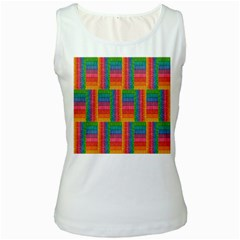 Texture Surface Rainbow Festive Women s White Tank Top