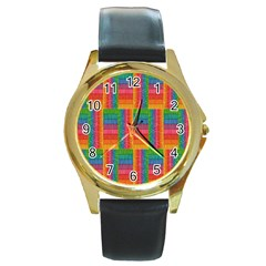 Texture Surface Rainbow Festive Round Gold Metal Watch