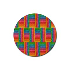 Texture Surface Rainbow Festive Rubber Round Coaster (4 pack)