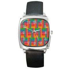 Texture Surface Rainbow Festive Square Metal Watch