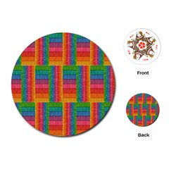 Texture Surface Rainbow Festive Playing Cards (Round)