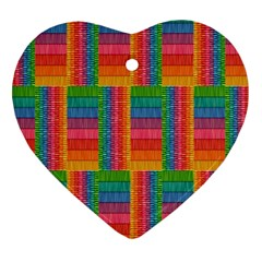 Texture Surface Rainbow Festive Heart Ornament (Two Sides)