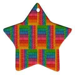 Texture Surface Rainbow Festive Star Ornament (Two Sides)