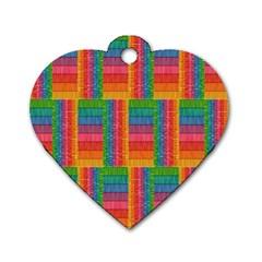 Texture Surface Rainbow Festive Dog Tag Heart (One Side)