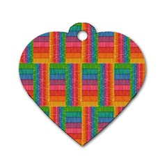 Texture Surface Rainbow Festive Dog Tag Heart (Two Sides)