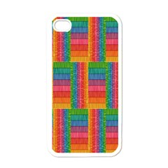 Texture Surface Rainbow Festive Apple iPhone 4 Case (White)