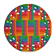 Texture Surface Rainbow Festive Round Filigree Ornament (Two Sides)