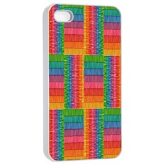 Texture Surface Rainbow Festive Apple iPhone 4/4s Seamless Case (White)