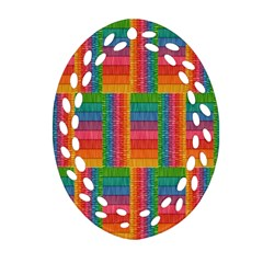 Texture Surface Rainbow Festive Oval Filigree Ornament (two Sides)