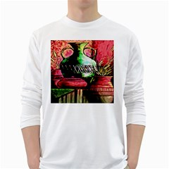 Three Earthen Vases White Long Sleeve T Shirts