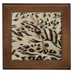 Tiger Animal Fabric Patterns Framed Tiles