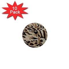 Tiger Animal Fabric Patterns 1  Mini Buttons (10 pack)