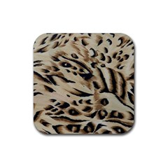 Tiger Animal Fabric Patterns Rubber Square Coaster (4 pack)