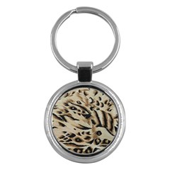 Tiger Animal Fabric Patterns Key Chains (Round)