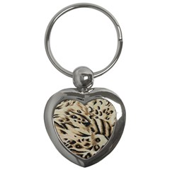 Tiger Animal Fabric Patterns Key Chains (Heart)