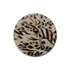 Tiger Animal Fabric Patterns Rubber Coaster (Round)