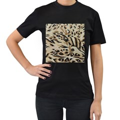 Tiger Animal Fabric Patterns Women s T-Shirt (Black) (Two Sided)