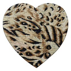 Tiger Animal Fabric Patterns Jigsaw Puzzle (Heart)