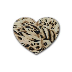 Tiger Animal Fabric Patterns Rubber Coaster (Heart)