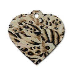 Tiger Animal Fabric Patterns Dog Tag Heart (Two Sides)