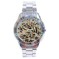 Tiger Animal Fabric Patterns Stainless Steel Analogue Watch