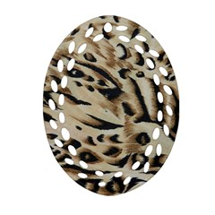 Tiger Animal Fabric Patterns Oval Filigree Ornament (two Sides)
