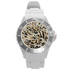 Tiger Animal Fabric Patterns Round Plastic Sport Watch (l)