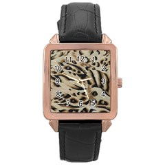 Tiger Animal Fabric Patterns Rose Gold Leather Watch