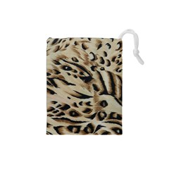 Tiger Animal Fabric Patterns Drawstring Pouches (Small)
