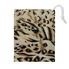 Tiger Animal Fabric Patterns Drawstring Pouches (Extra Large)