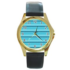 The Background Strips Round Gold Metal Watch