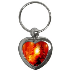 Tree Trees Silhouettes Silhouette Key Chains (Heart)