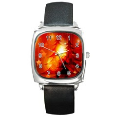 Tree Trees Silhouettes Silhouette Square Metal Watch