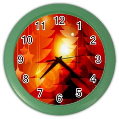 Tree Trees Silhouettes Silhouette Color Wall Clocks